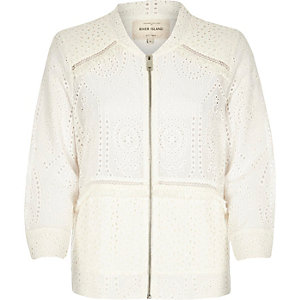 Cream crochet bomber jacket