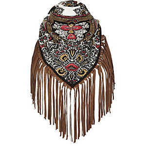 Cream printed fringed scarf