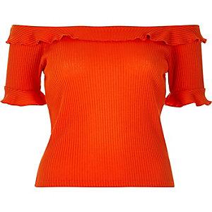Red ribbed frilly bardot top