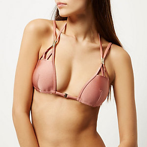 RI Resort brown strappy molded bikini top