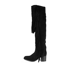 Black suede fringed knee high boots
