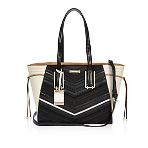 Black winged tote handbag