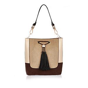 Cream color block slouch bucket bag