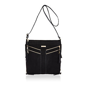Black whipstitch cross body handbag