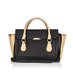 Black structured winged tote handbag
