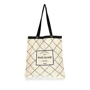 Beige RI quilted shopper tote bag