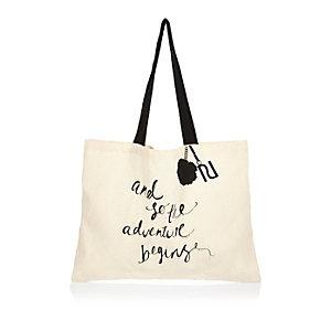 Beige canvas shopper tote bag
