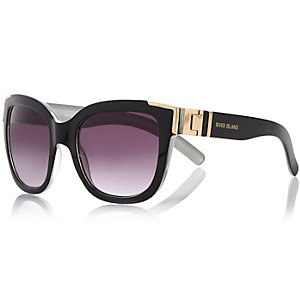 Black chunky cat eye metal detail sunglasses
