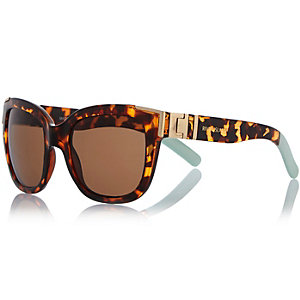 Brown tortoise chunky metal detail sunglasses