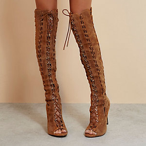 Brown RI Studio suede over the knee boots