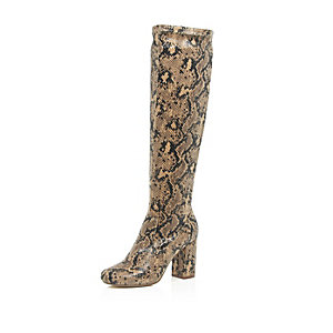 Beige snake print heeled knee high boots