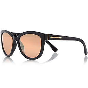 Black cat eye mirror lens sunglasses