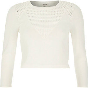 White knitted pointelle top