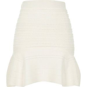 White knitted pointelle skirt