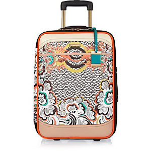 Orange print wheelie suitcase