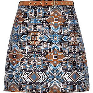 Blue jacquard belted A-line skirt