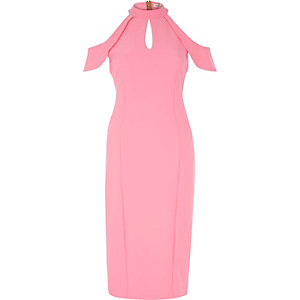 Pink cold shoulder bodycon midi dress