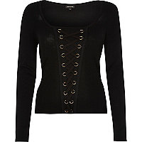 Black lace up knitted top