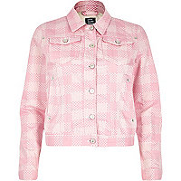 Pink Design Forum floral print denim jacket