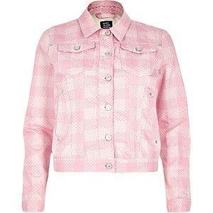 Pink Design Forum floral print denim jacket