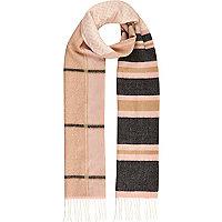 Pink stripe tassel skinny scarf