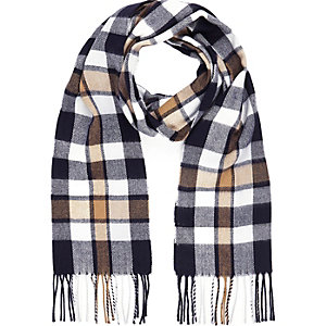 Navy checked tassel blanket scarf