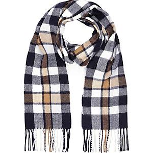 Navy checked tassel blanket scarf