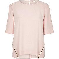 Light pink zip side top