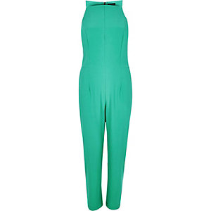 Green tailored racer back jumpsuit