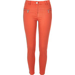 Red twill skinny pants