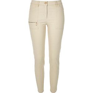 Beige twill zip skinny pants