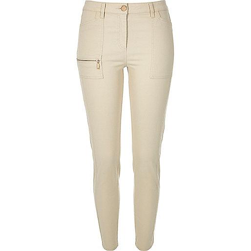 Beige twill zip skinny trousers