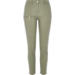 Khaki twill zip skinny pants