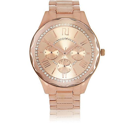 Rose gold tone faceted diamanté  watch