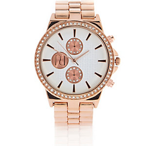 Rose gold tone embellished watch