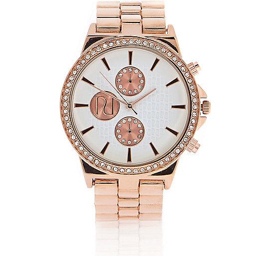 Rose gold tone embellished watch