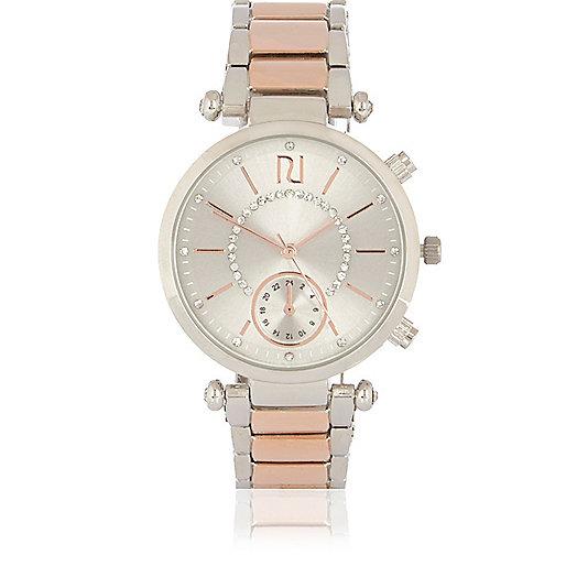 Uhr in Silber und Roségold mit Strasssteinen