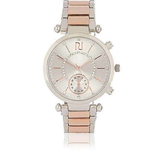 Silver and rose gold tone rhinestone watch