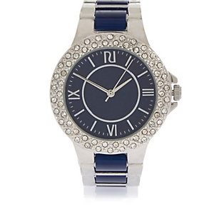 Silver tone navy Roman numeral watch