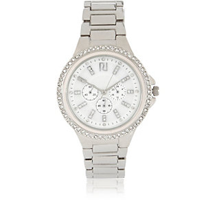 Silver tone embellished watch