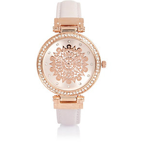 White embellished filigree watch