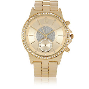 Gold tone embellished watch