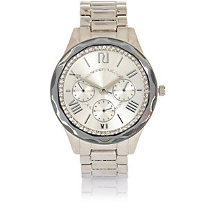 Silver tone faceted embellished watch