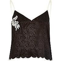 Black silky jacquard cami pajama top