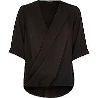Black wrap front blouse