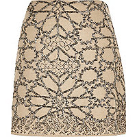 Beige linen embellished mini skirt