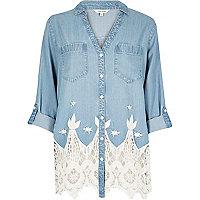 Light blue cutwork shirt