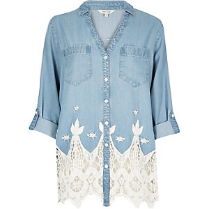 Light blue cutwork shirt