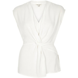 White knotted front sleeveless top