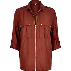 Dark red zip shirt